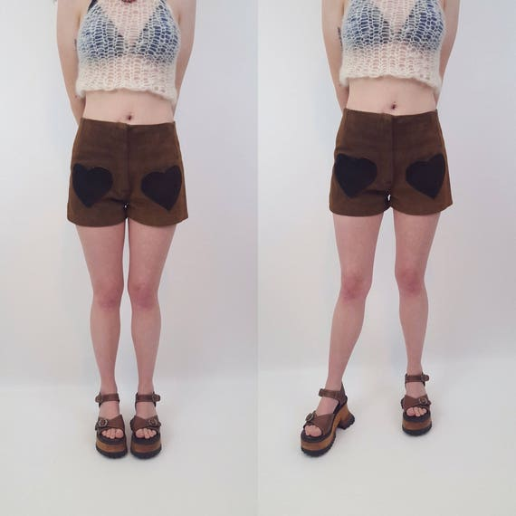 70s Vintage Small High Waist Brown Suede Shorts - 1979s Womens Spring Summer Short Shorts - Heart Pocket Unique Boho Retro Girly Shorts XS