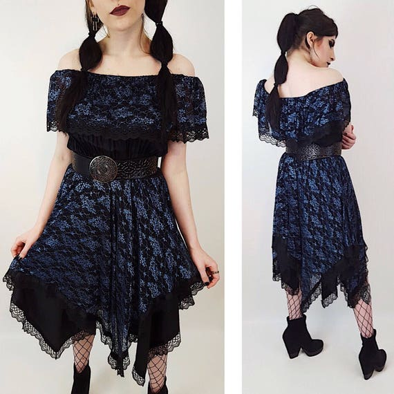 70s/80s Black + Blue Lace Ruffle Below Knee Lolita Dress Medium/Large - Vintage Womens Strapless Off Shoulder Gothic Dancer Midi Dress