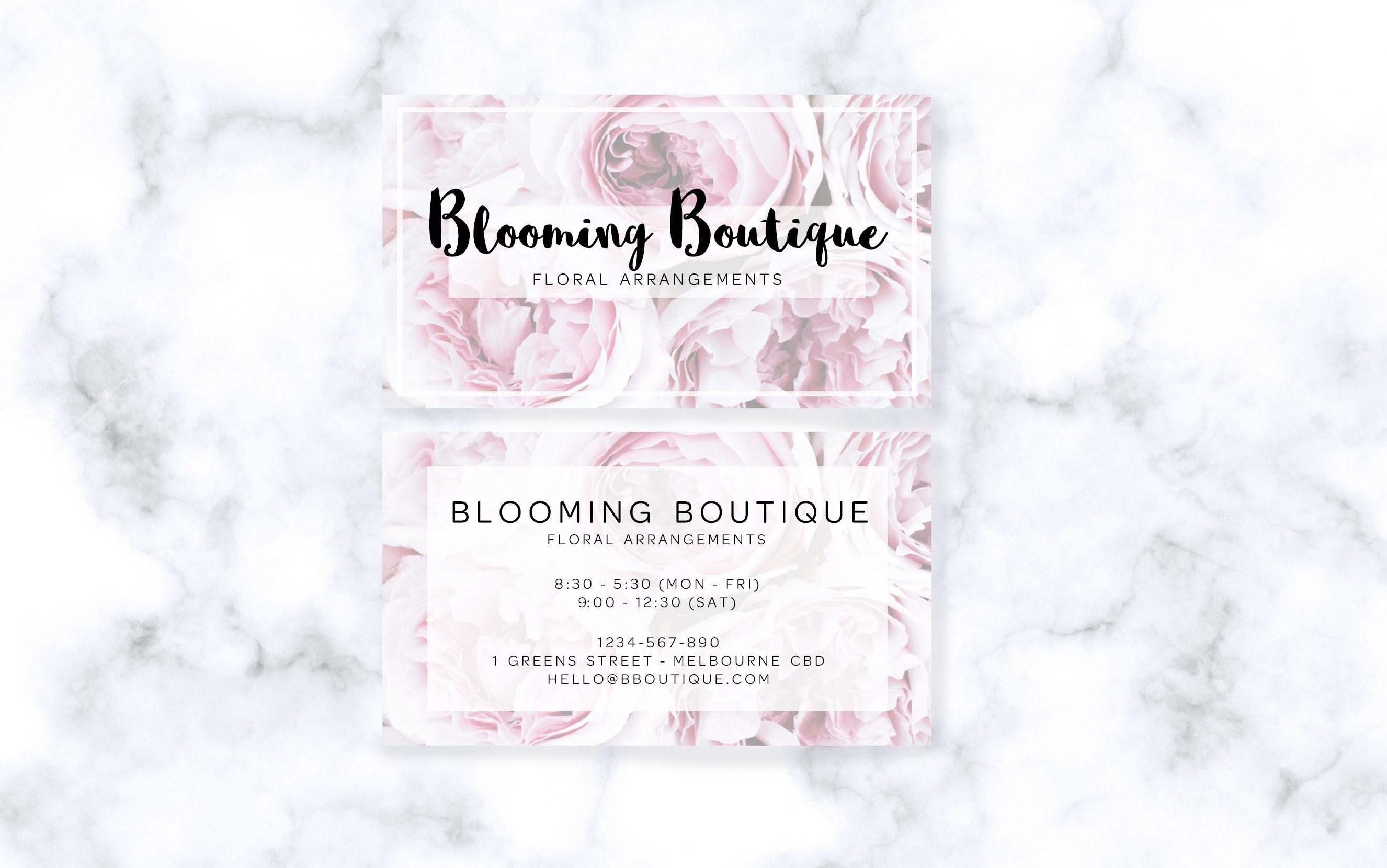 Pastel Floral Business Cards - Digital Download
