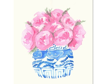 Pink Peonies in a Blue and White Ginger Jar