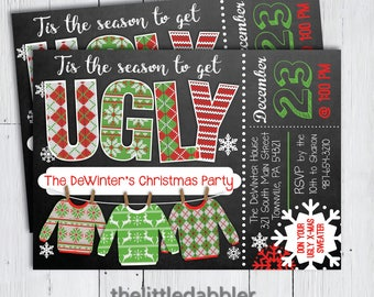 Printable Ugly Sweater Christmas Party Invitation -- Chalkboard Tacky Sweater Holiday Party Invitation -- PNG & JPG