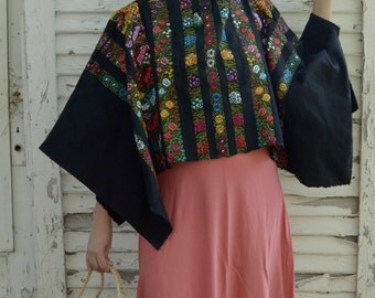 Vintage Embroidered Black Poncho Colorful Lace; Latin America Southwestern Boho; FREE Shipping U.S.A.