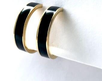 Clip On Hoop Earrings Monet Black Enamel Gold Tone Signed Vintage Ear Clips