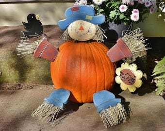 Halloween Build a Jack O Lantern Scarecrow Kit, Autumn Welcome Painted Wood DIY Decorate a Pumpkin Kit, Child Friendly Scarecrow Fall Porch
