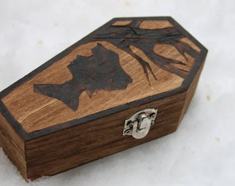 Wood Burned Coffin: Tree and Silhouette Woman Portrait