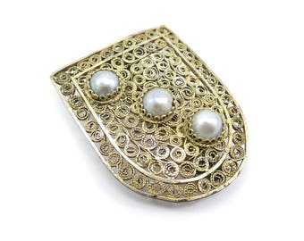 Vintage Coro China Dress Clip, Genuine Silver Pearls, Chinese Export, Rare Find, Filigree, Gold Tone, Signed