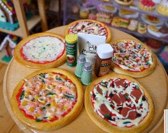 Miniature Various Medium Sized Pizza Dolls Food 1:6 Scale Seafood, BBQ, Pepperoni, Ham & Pineapple, Handmade by Nadia Michaux