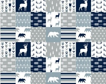 Woodland Patchwork Nursery Quilt Fabric by the Yard Navy Gray Cheater Quilt Fabric Cotton Baby Boy Fabric Bear Deer Minky 6854399