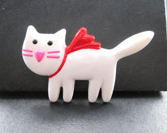 Vintage White Red & Pink Kitty Cat Lapel Pin Brooch by Hallmark 1980's
