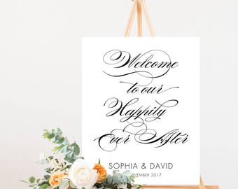 Welcome to our Happily Ever After Sign, Welcome to our Wedding Sign, Welcome to Wedding Sign, Welcome Wedding Sign, S021