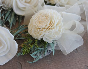 Eucalyptus Leaf Sola Corsage, Small Sola Flower Corsage, Eucalyptus Corsage, Wrist Corsages, Mother of the Bride, Mother of the Groom