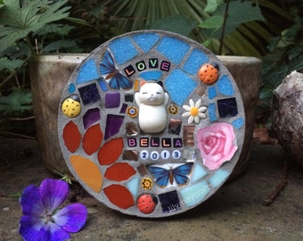 Personalised Pet memorial mosaic plaque, pet grave marker, made to order.