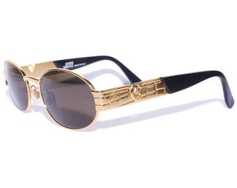 Vintage 90s Gianni Versace Gold Oval Sunglasses Made In Italy