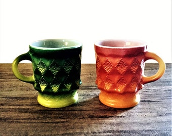 Vintage Fire King Mugs, Kimberly Dot Diamond Bumpy, Bright Orange Ombre, Bright Green Ombre, Pair of Anchor Hocking Mugs, Made in USA
