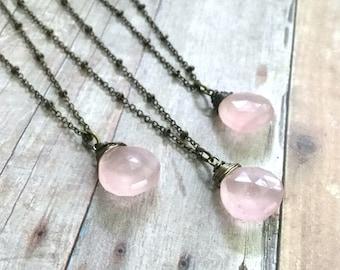 Pink Gemstone Pendant / Rose Quartz Necklace / Brass Long Chain Necklace / Wire Wrapped Teardrop Pendant