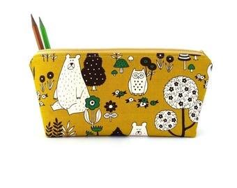 Pencil case kids, Pencil pouch, Cute school supply, Pencil bag, Student pencil case, Children pencil case, Polar bear, Woodland