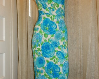 fitted beautiful blue dress/ floral print vintage 90's/ cocktail spring summer slit dress