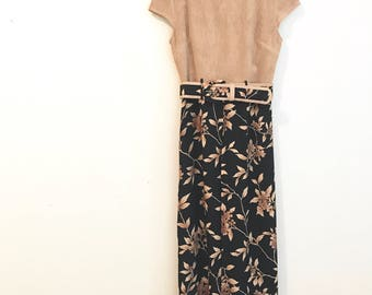 Vintage 90s Flowy Floral Black and Tan Belted Jumpsuit Romper