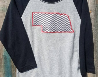 Silver Chevron Nebraska on sleeve 3/4 sleeve Baseball style Youth T-shirt