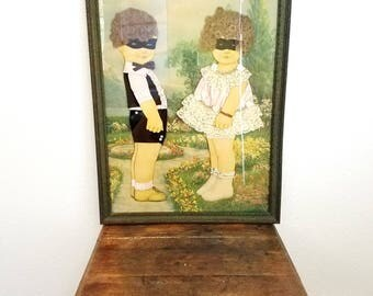 Vintage Creepy Paper Doll Framed Picture. Real Hair and Clothes