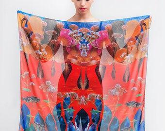 Colorful scarf, Floral printed scarf, Autumn scarf, Leaf scarf, Art scarf, Luxury scarf, Designer accessory, Elegant wrap, Square chiffon