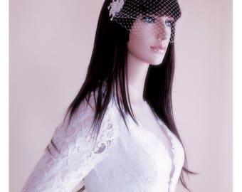 Bridal Birdcage Veil, Wedding Fascinator, Bridal Fascinator, Ivory Birdcage Veil, Appliqué Wedding Veil, Ivory Fascinator, Ivory Fascinator