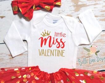 Little Miss Valentine Girl Baby Girl Valentine Onesie | Baby Girl Valentine Shirt | Valentine Onesie | Baby First Valentine | 167