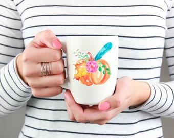 Floral Watercolor Pumpkin Coffee Cup, Coffee Mug, Pumpkin Lover Coffee Mug, Boho Coffee Mug