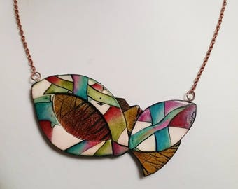 "Necklace, ""Strips leaves"", polymer clay, unique, handmade, original design"