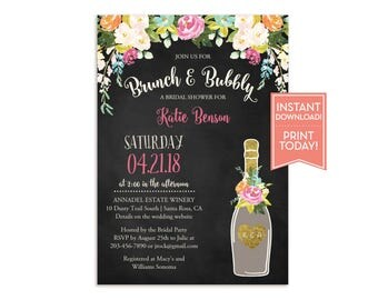 Brunch and Bubbly Bridal Shower Invitation Template - Floral Chalkboard Invitation - Birthday-Baby Shower- Editable Instant Download- LR1052