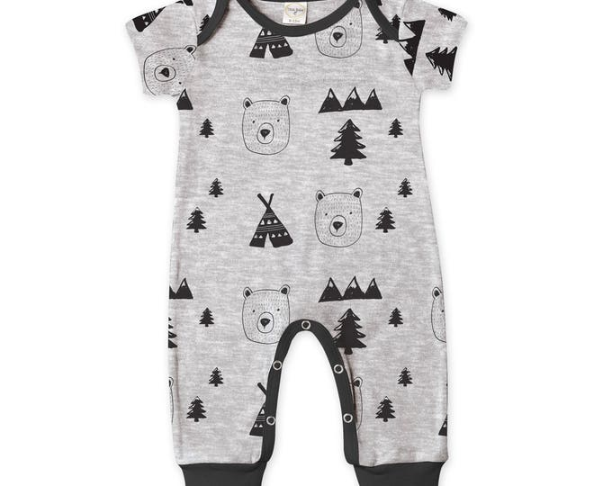 WINTER SALE! Newborn Baby Boy Coming Home Outfit Summer, Baby Bear Cub Gray Romper, Baby Girl Bear Romper Minimalist Bears Romper Tesa Babe