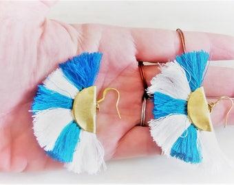 Fan Earrings, Tassel Earrings, Semicircle Raw Brass Earrings, Half Circle Greek Goddess, Half Moon Crescent Earrings, Fan Fringe Earrings