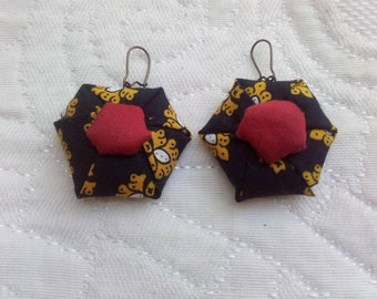 Earrings, provencal fabric.