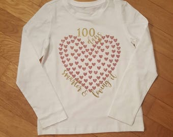 100 days smarter & loving it, 100 days of school shirt, 100 hearts