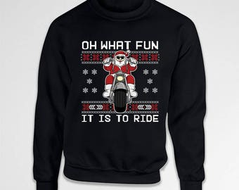 Funny Christmas Sweater Santa Claus Motorcycle Gift Ideas For Men Xmas Present For Him Holiday Jumper Santa Pullover Xmas Hoodie TEP-601