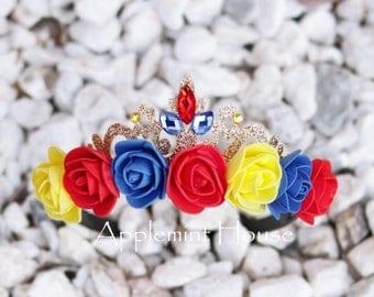 Snow White Crown, Snow White Birthday Crown, Snow White Princess Crown,Flower Crown, Snow White Headband, Snow White Elastic Headband