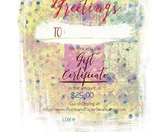Jewelry Gift Certificate any amount over 25 dollars, email gift card, gift for her, gift for mom, girlfriend gift, BFF gift