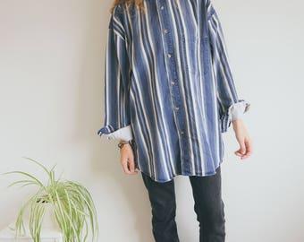 Vintage Retro Striped Shirt, Blue Striped Shirt, Unisex Shirt, Bohemian Baggy Shirt