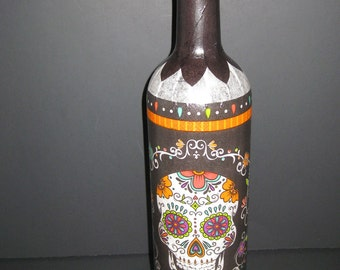 Sugar skull wine bottle light whimsical decorative handcrafted white lights Day of the Dead