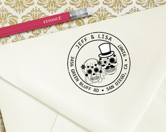 Sugarskull Couple Address Stamp, Wedding Stamp, Sugarskull Address Stamp