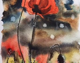 Original watercolor poppy, watercolor poppy, poppy art, home decor, watercolor art, fine art, gift for her, modern art