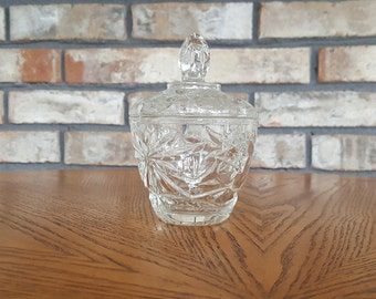 Vintage Mid-Century Sugar Bowl by Anchor Hocking Star of David Pattern / American Prescut Glass EAPC