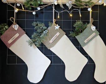 Large Personalized Christmas Stocking,Custom Vintage Cotton Canvas & Burlap Christmas Stocking  -1655091117-