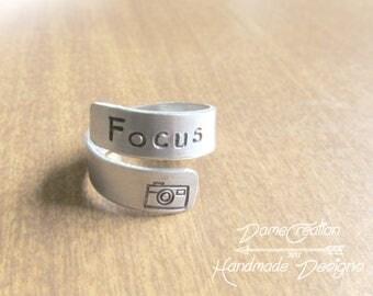 Silver Ring Wrap - Camera Ring - Focus Ring - Photography Jewelry - Photographer Jewelry - Silver Stamped Ring - Wrap Ring