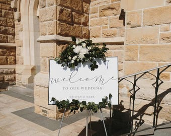 Landscape Wedding Welcome Sign  | Printable | Calligraphy | Black & White