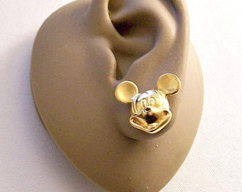 Mickey Mouse Disney Pierced Stud Earrings Gold Tone Vintage Avon Large Detailed Round Ears Mouth Nose Eyes Surgical Steel Posts