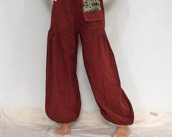 Orange Gypsy Hippie Harem Yoga Pants (HR-577)