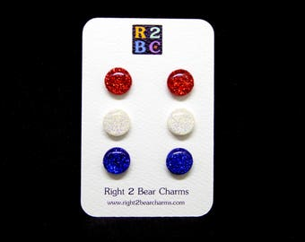 Red White and Blue Glitter Studs, 4th July Earrings, USA Jewelry, Patriotic Jewelry, Surgical Steel Earrings, Polymer Clay Earrings Stud