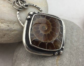 Ammonite Pendant, Sterling Silver, Necklace, Rustic, Earthy, Boho, Gypsy, Brown