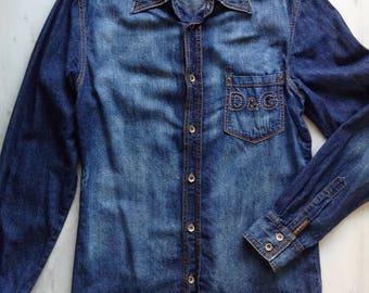 Dolce Gabbana jeans shirt for men, long sleeve D&G jeans shirt